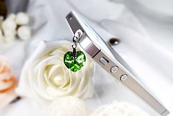 Mobile Charmz Phone Charm Heart with Swarovski Crystal - Green