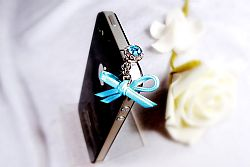 Mobile Charmz Phone Crystal Plug with Leather Bow- Blue