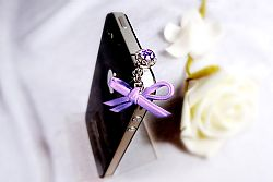 Mobile Charmz Phone Crystal Plug with Leather Bow- Purple