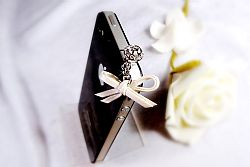 Mobile Charmz Phone Crystal Plug with Leather Bow- White