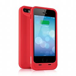Merkury MFI Silicone Power Case for iPhone 5/5S 2000 mAh - Red