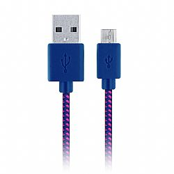 Merkury 10 Ft. Two Tone Braided Fabric Micro USB Cable - Pink/Purple