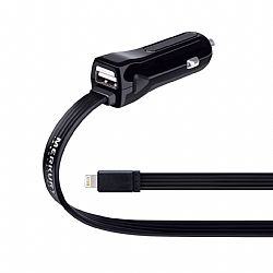 Merkury Dual Car Charger with Lightning Connector - Black
