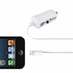 Merkury 2.1 Amp Car Charger with Lightning Connector - White