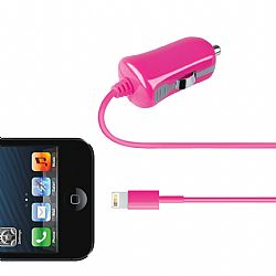 Merkury 2.1 Amp Car Charger with Lightning Connector - Pink