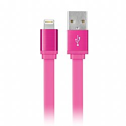 Merkury 6 Foot MFI Flat Lightning Sync and Charge Cable - Pink