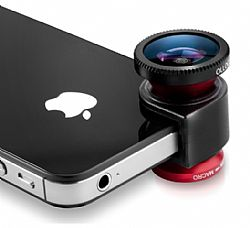 olloclip 3-IN-ONE lens system: Fisheye, Wide-Angle, Macro. Includes, caps, and bag for iPhone 5 - Red