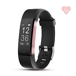RevJams Moda + HR Bluetooth Fitness Activity Tracker with built-in Heart Rate Monitor- Black/Rose Gold