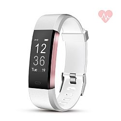 RevJams Moda + HR Bluetooth Fitness Activity Tracker with built-in Heart Rate Monitor- White/Rose Gold