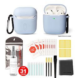 RevJams 31pc Cleaning Kit and Hard Case COMBO for Apple AirPods & AirPods 2 - Our Specially Formulated Cleaning Solution, Microfiber Cloth, Safe Brushes, Dust Stickers, Swabs, and More, New Version! Powder Blue