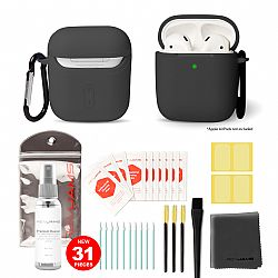 RevJams Complete 27pc Cleaning Kit for Portable Audio Devices with Black AirPods case