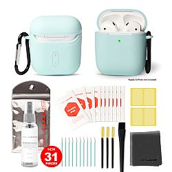 RevJams 31pc Cleaning Kit and Hard Case COMBO for Apple AirPods, & Airpods 2 - Our Specially Formulated Cleaning Solution, Microfiber Cloth, Safe Brushes, Dust Stickers, Swabs, and More, New Version! Mint Green
