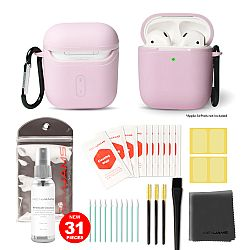 RevJams 31pc Cleaning Kit and Hard Case COMBO for Apple AirPods, & Airpods 2 - Our Specially Formulated Cleaning Solution, Microfiber Cloth, Safe Brushes, Dust Stickers, Swabs, and More, New Version! Pink