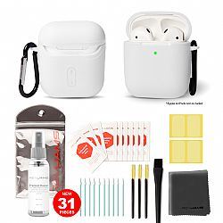 RevJams 31pc Cleaning Kit and Hard Case COMBO for Apple AirPods & AirPods 2 - Our Specially Formulated Cleaning Solution, Microfiber Cloth, Safe Brushes, Dust Stickers, Swabs, and More, New Version! White