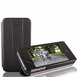 RevJams FlipBack HG Smart Case/Cover with Stand for iPhone 4/4S, Black/Black