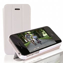 RevJams FlipBack HG Smart Case/Cover with Stand for iPhone 4/4S, White/Grey