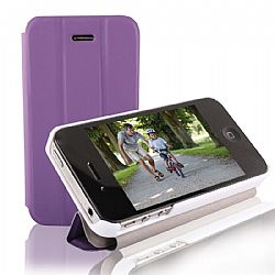 RevJams FlipBack HG Smart Case/Cover with Stand for iPhone 4/4S, White/Purple