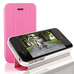 RevJams FlipBack HG Smart Case/Cover with Stand for iPhone 4/4S, White/Pink