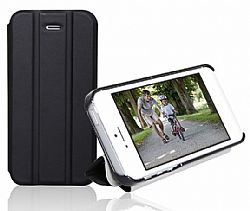 RevJams FlipBack Smart Case/Cover with Stand for Iphone 5, Black/Black