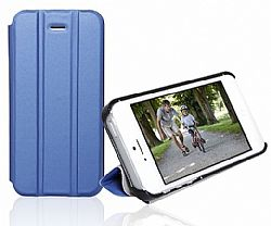 RevJams FlipBack Smart Case/Cover with Stand for Iphone 5, Black/Dark Blue