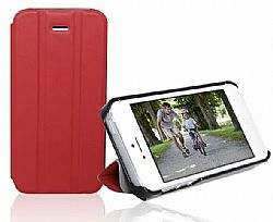 RevJams FlipBack Smart Case/Cover with Stand for Iphone 5, Black/Red
