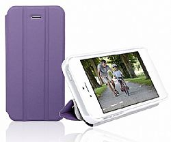 RevJams FlipBack Smart Case/Cover with Stand for Iphone 5, White/Purple