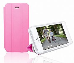 RevJams FlipBack Smart Case/Cover with Stand for Iphone 5, White/Pink