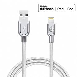 RJ Power Premium Nylon Braided Charge and Sync USB-A Cable with Lightning Connector, 6ft - Silver