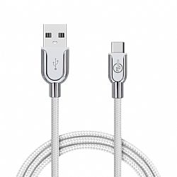 RevJams Premium Nylon Braided Charge and Sync Cable with Type C Connector, 6ft - Silver