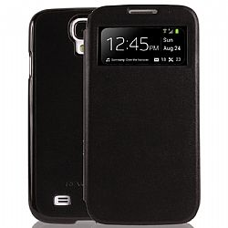 RevJams FlipBack View case/cover with sleep and wake functionality for Samsung Galaxy S4, Black/Black (lambskin front window cover with glossy back)