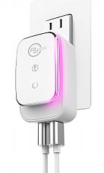 RJ Power 2 Port  3.1A Smart USB Wall Charger with Color LED Night Light -White/Silver