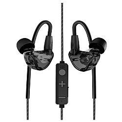 RevJams Lite Wireless Bluetooth Noise Isolating In-Ear Headphones with Memory Wire, Translucent Black