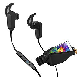RevJams Active Pro Sports Bundle -Bluetooth 4.0 earbuds with matching running belt -Black