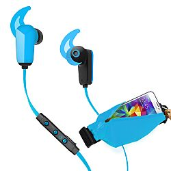 RevJams Active Pro Sports Bundle -Bluetooth 4.0 headphones with matching running belt -Blue