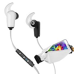 RevJams Active Pro Sports Bundle -Bluetooth 4.0 earbuds with matching running belt -White