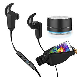 RevJams Active Pro Bundle - with Bluetooth 4.0 earbuds + Universal running waist pack + RevJams Satellite Bluetooth Speaker (kit items listed below)