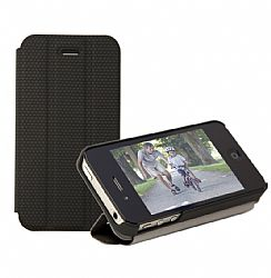 RevJams FlipBack Smart Case/Cover with Stand for iPhone 4/4S, Black-Black