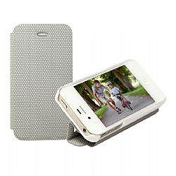 RevJams FlipBack Smart Case/Cover with Stand for iPhone 4/4S, White-Grey