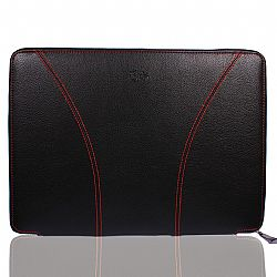 iSkin SOHO 13-Inch Laptop Sleeve Premium Protection for MacBook and PC, Black/Red
