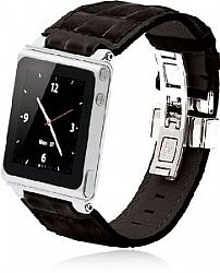 iWatchz Timepiece Stainless Leather Watch Strap for iPod nano 6th Gen with Deploy-Black