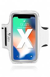 Jarv Universal Sports Armband For smartphones with up to 5.5 inch display screens Phone 7 / 8/ 8 Plus, iPhone X, Galaxy S7 / S8, Galaxy S7/ S7 Edge, White/Silver-Retail Packaged