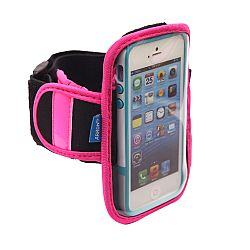 Arkon Sports Running Jogging Neoprene Armband for iPhone 4S, 5S, 5C and Mid-Sized Phones up to 4.3 inches including Samsung Galaxy S4 mini , HTC One Mini and More- Pink